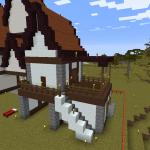 Minecraft 2階玄関の家を建築する